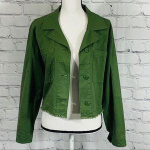 Sanctuary Frayed Hem Green Jean Jacket Sz. Medium